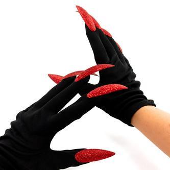 Hexen Handschuhe mit Fingernägeln Halloween Fasching Karneval Accessoire
