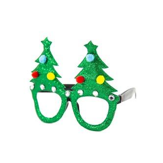 2 Brillen für Weihnachten Weihnachtsbaum Merry Christmas Fasching Karneval Weihnachtsdeko Grün Rot