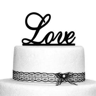 Hochzeitstorten Topper Love Kuchendeckel Hochzeit - schwarz