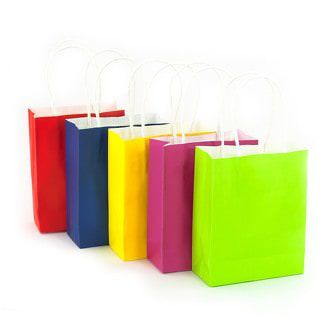 5 Papiertüten mit gedrehtem Tragegriff Geschenktüten Taschen Farbmix