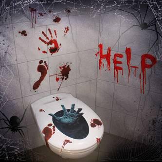 Halloween Sticker HELP realistisch wirkender blutiger Horror Aufkleber