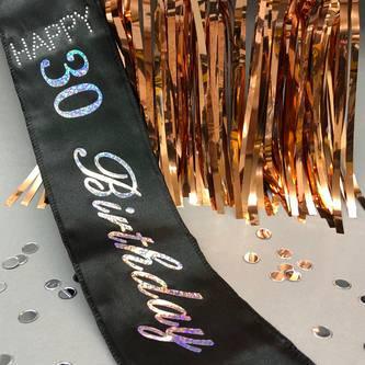 Schärpe Happy Birthday 30. Geburtstag 30er Party Feier schwarz