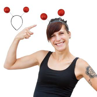 Haarreif Haarreifen Glitter Glitzer Antenne Kugeln Kostüm Fasching rot