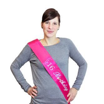 Schärpe Happy Birthday 16. Geburtstag 16. Jubiläum Party Feier pink