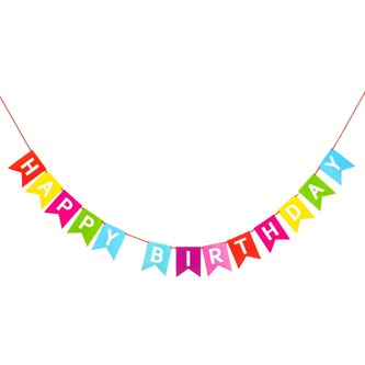 Happy Birthday Girlande Wimpel Banner 2,2m Geburtstag Party Deko -bunt