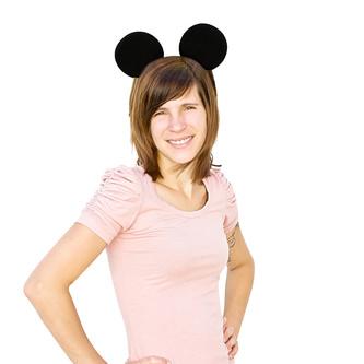 Haarreif Haarreifen Maus Mouse Ohren Fasching Karneval - schwarz