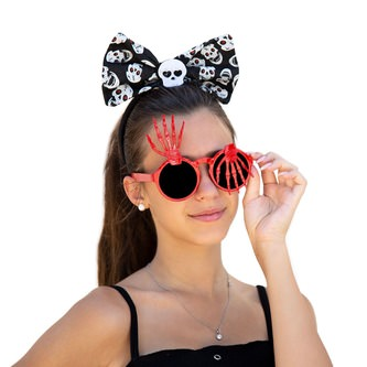 Skelett Hand Brille Spaßbrille Gagbrille Partybrille Sonnenbrille Halloween Party Fasching Karneval rot