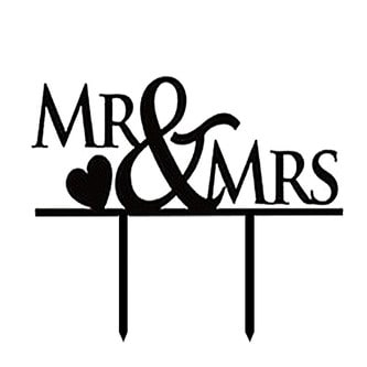 Hochzeitstorten Topper Mr & Mrs Kuchendeckel Hochzeit - schwarz