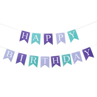 Happy Birthday Girlande Banner 2m Geburtstag Party Deko - lila türkis