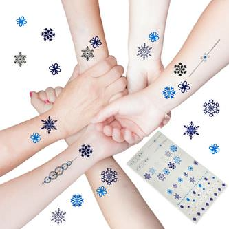 Temporäre Klebetattoos Kinder Tattoo Set 42 Stk - Schneeflocken Winter