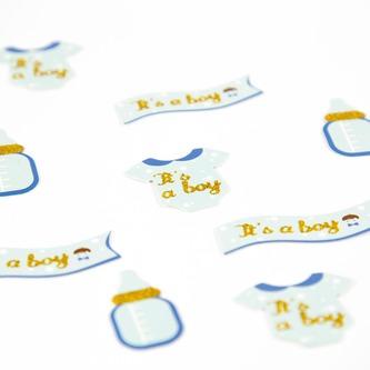 12x Konfetti - Fläschchen + Banner + Body Tischdeko Baby Shower Babyparty Junge - blau