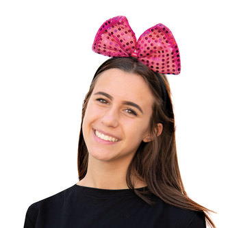 Haarreif Haarreifen große Schleife mit Pailletten Fasching - pink