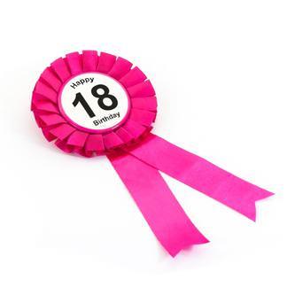 Brosche Button 18. Geburtstag Happy Birthday Abzeichen - pink