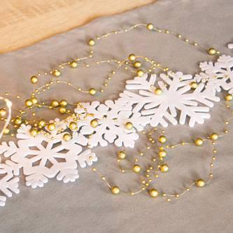 Schnee Girlande mit Schneeflocken Hängedeko Tischdeko Weihnachtsdeko