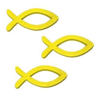 18 Holz Fische Streudeko Taufe Kommunion Konfirmation - Echtholz gelb