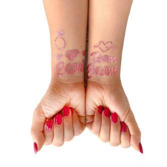 Temporäre Klebetattoos Tattoo Set Junggesellinnenabschied JGA rose gold