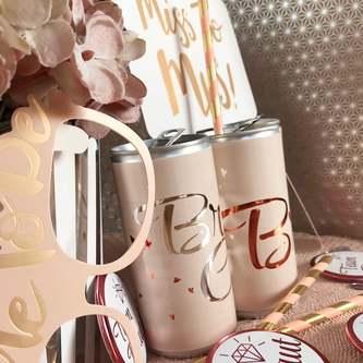 Braut + Braut Crew Dosen Flaschen Sticker 10 Stk JGA Etiketten Aufkleber