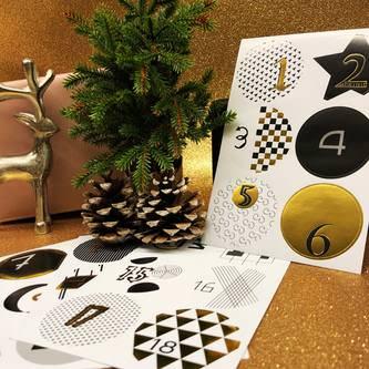 24 Adventskalender Sticker Zahlen Aufkleber Weihnachten Basteln - gold