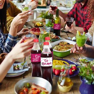 Braut + Team Braut Dosen Flaschen Sticker 10 Stk JGA Etiketten Aufkleber