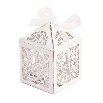 10 Deko Schachteln Boxen mit Kreuz Motiv für Taufe Kommunion Hochzeit weiß