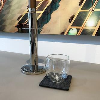 4 Filz Untersetzer Getränke Glas Untersetzer quadratisch - dunkelgrau