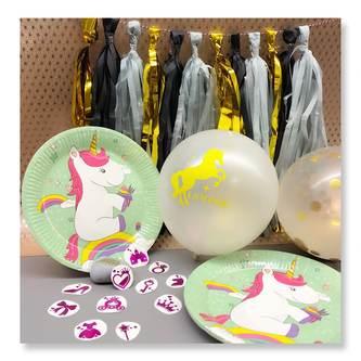 Einhorn Konfetti Luftballon Set 15 Stk Kinder Geburtstag JGA rosa weiß