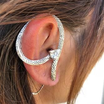 Ohrring Schlange Ohrstecker Ohrschmuck Punk Gothic Damen - silber