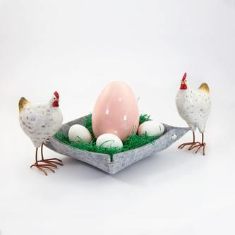Filzschale DIY Dekoschale als Schlüsselablage Geld Ablage - weißgrau