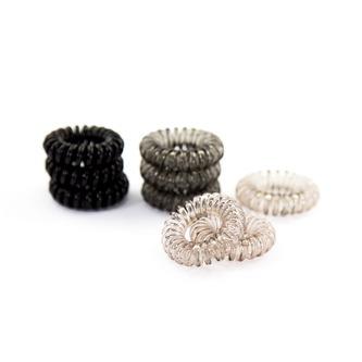 9 Spiral Haargummis Telefonkabel Zopfgummi Mädchen Damen Frauen elastisch - schwarz grau transparent