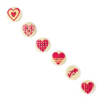 50x Holz Knöpfe rund mit Herz Druck Buttons Nähen Kleidung Basteln