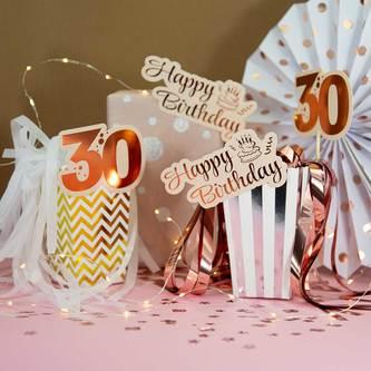 10 Stk. Happy Birthday Konfetti Geburtstag Jubliäum Streudeko Tisch Deko - roségold