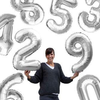 Folien Luftballon mit Zahl 1 Geburtstag Jubiläum Party Deko Ballon - silber