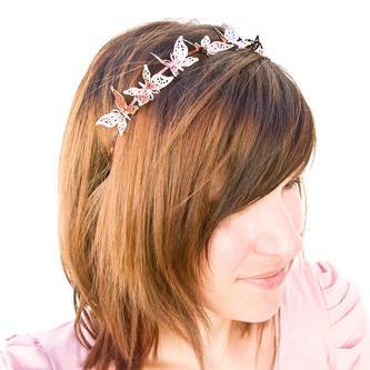 Haarreifen Schmetterlinge Metall Haarreif Fasching Karneval JGA rosé