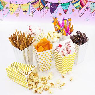 Popcorn Schachtel Tüte Snack Box 8 Stk. Tisch Deko - weiß gold