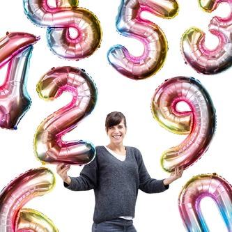 1x Folien Luftballon mit Zahl 1 Kinder Geburtstag Jubiläum Party Deko Ballon bunt