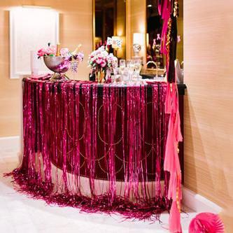 4x Lametta Vorhang Dekoration Party Feier Fasching Karneval - pink