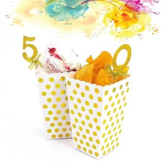 Popcorn Schachtel Tüte Snack Box 32 Stk. Tisch Deko Tüten - silber gold