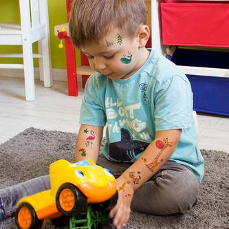 Temporäre Klebetattoos Kinder Tattoo Set - Giraffen Zebra Motive uvm