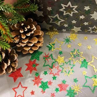 44 Glitzernde Funkelnde Sterne Sticker Aufkleber Weihnachtssterne Weihnachtsdeko - rot