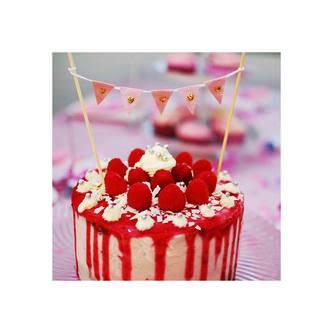 Torten Topper Kuchen Aufsatz Torten Wimpel Kette Kuchen Deko - rosa