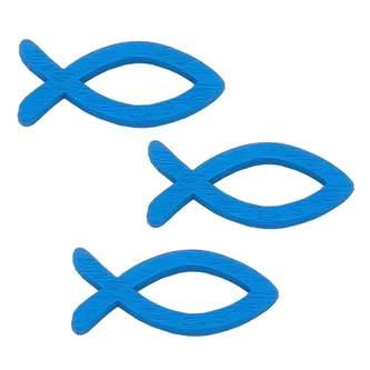 18 Holz Fische Streudeko Taufe Kommunion Konfirmation - Echtholz blau