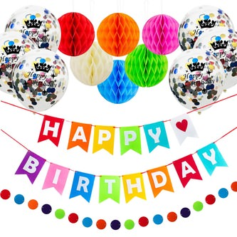 10x Konfetti Luftballons Happy Birthday Geburtstag Party Ballons bunt