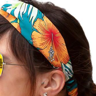 Haarband Stirnband Blumen Motiv Haarschmuck Kopfschmuck -türkis orange