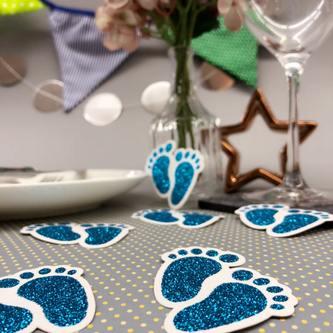 10 Konfetti Baby Füßchen für Junge Baby Shower Deko Geburt - blau