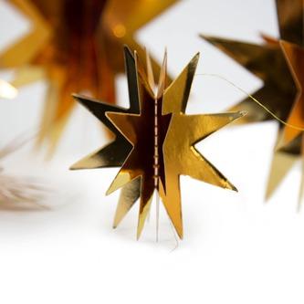 Deckenhänger Girlande 3D Sterne Weihnachten Deko Weihnachtsdeko - gold