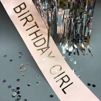 Schärpe Birthday Girl Geburtstag Party Feier Geburtstagsfeier Lachs