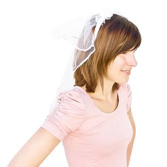 Haarreifen mit Brautschleier Blumen Perlen JGA Hochzeit Braut Schleier weiß