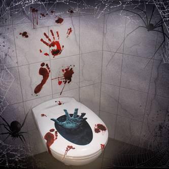 Halloween Hand Sticker Toilettendeckel Klodeckel WC Sitz Deckel Wand Aufkleber