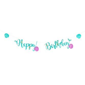 Happy Birthday Girlande Banner mit Muscheln 2m Geburtstag Party Deko