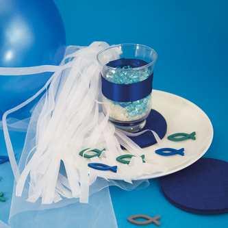 4 Filz Untersetzer Glasuntersetzer rund - blau